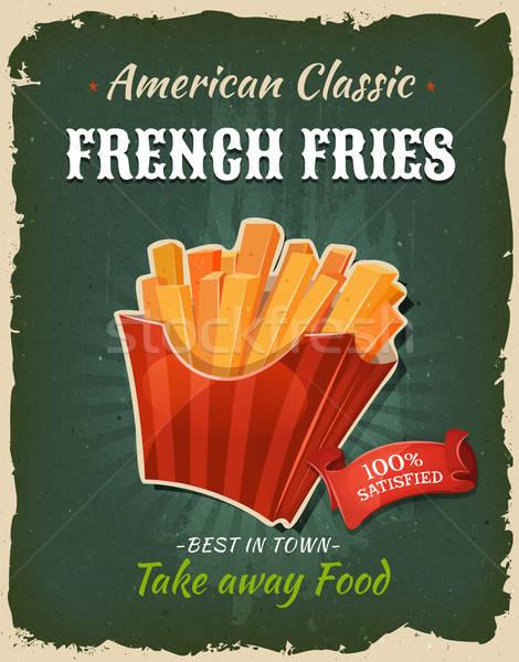 ретро быстрого питания картофель фри плакат иллюстрация дизайна Сток-фото © benchart
