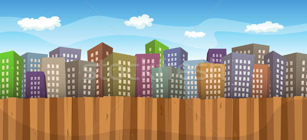été printemps cityscape illustration cartoon grand Photo stock © benchart