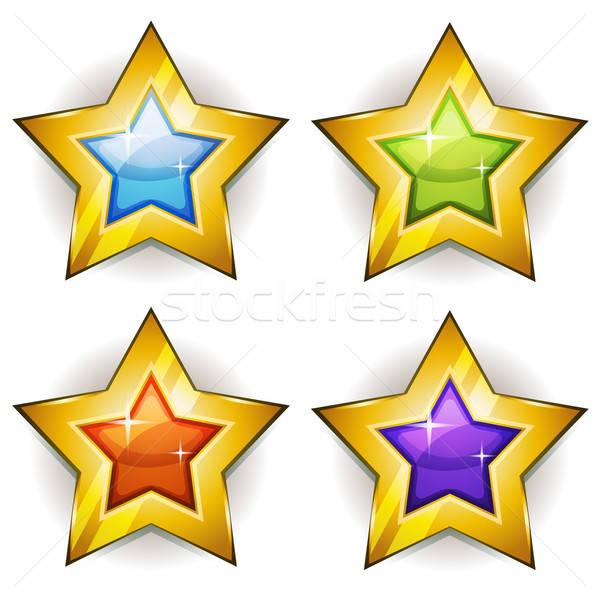 Engraçado estrelas ícones ui jogo ilustração Foto stock © benchart