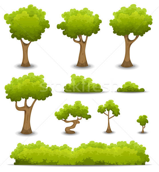 Bos bomen bush ingesteld illustratie cartoon Stockfoto © benchart