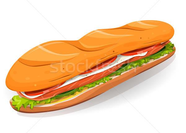 Swedish Sandwich With Salmon Fish, Fresh Cheese And Salad Stock photo © benchart