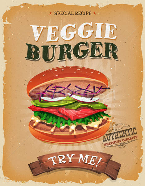 Grunge And Vintage Vegetarian Burger Poster Stock photo © benchart