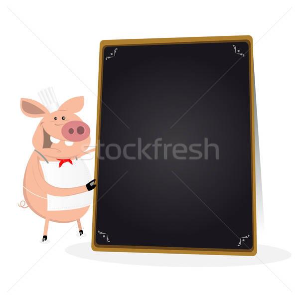 Pig Cook Holding Blackboard Menu Stock photo © benchart