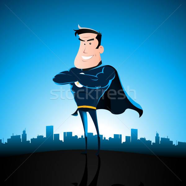 Cartoon niebieski superhero ilustracja stałego Cityscape Zdjęcia stock © benchart
