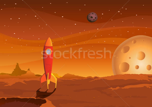 spaceship-on-martian-landscape Stock photo © benchart