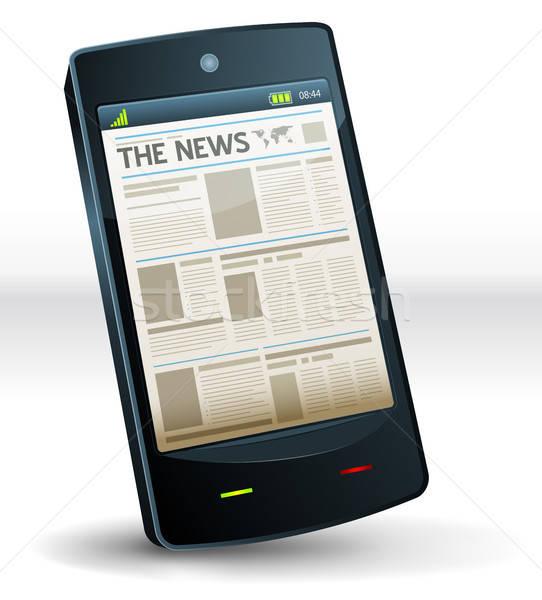újság bent zseb mobiltelefon illusztráció kiadvány Stock fotó © benchart