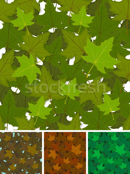 Stock photo: Seamless Maple Leaves Background Set