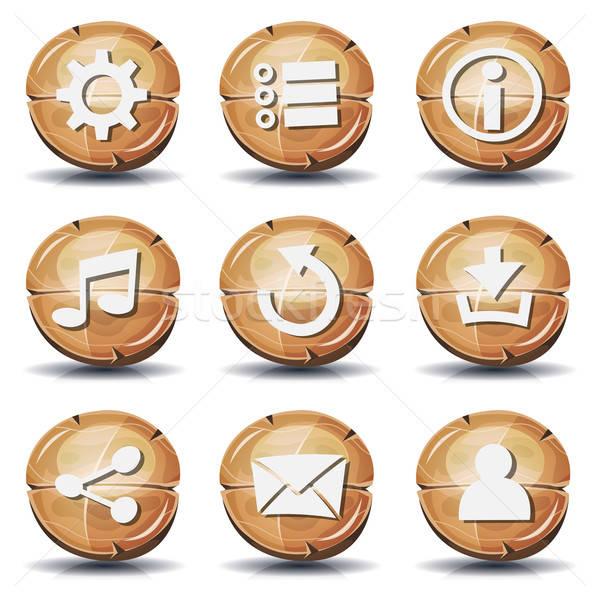 面白い 木材 アイコン ボタン ui ゲーム ストックフォト © benchart