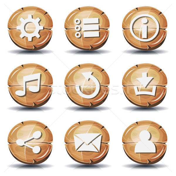 Grappig hout iconen knoppen ui spel Stockfoto © benchart