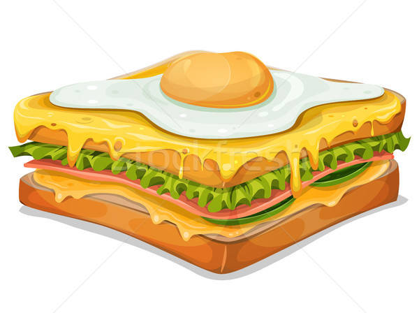 Francia szendvics tükörtojás illusztráció étvágygerjesztő gyorsételek Stock fotó © benchart