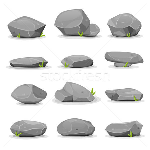 Rocks And Boulders Set Stock photo © benchart