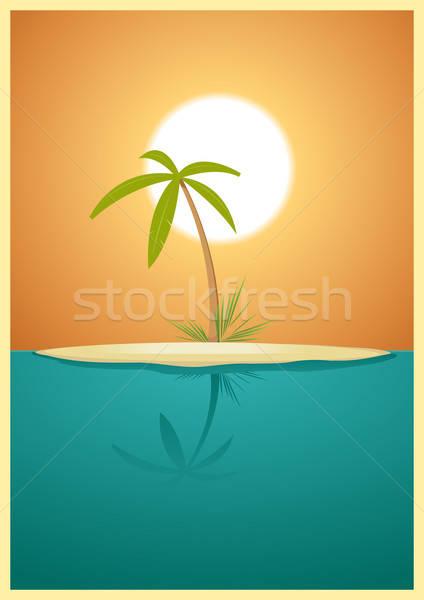 édenkert sziget illusztráció mennyei egyszerű trópusi sziget Stock fotó © benchart