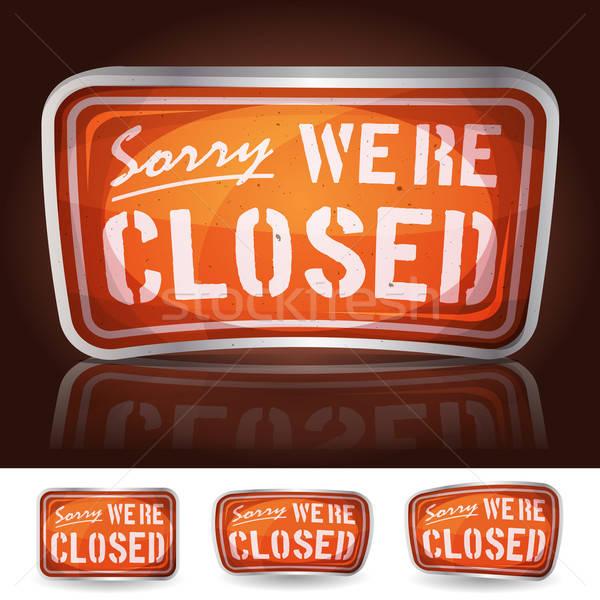 Siralmas zárva felirat illusztráció rajz klasszikus Stock fotó © benchart