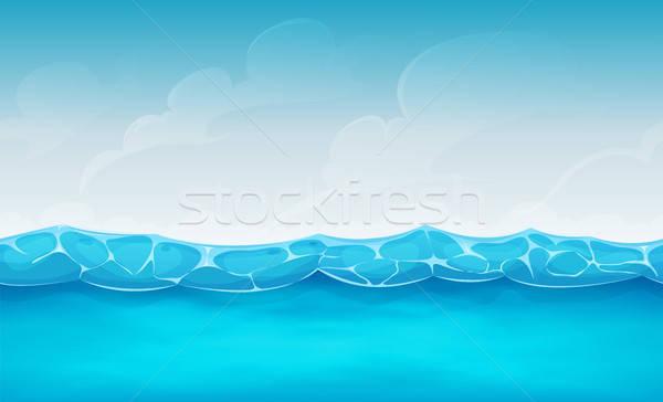 Bezszwowy lata ocean ui gry ilustracja Zdjęcia stock © benchart