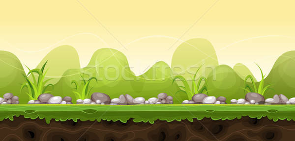 Seamless Green Landscape For Game Ui Stock photo © benchart