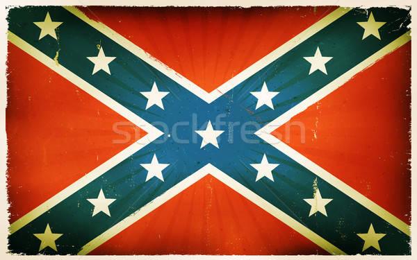 Klasszikus amerikai zászló poszter illusztráció kék Stock fotó © benchart