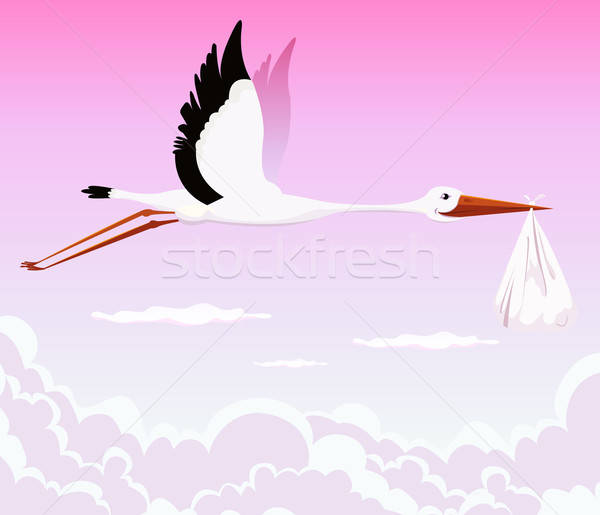 Flying Stork Delivering Girl Stock photo © benchart