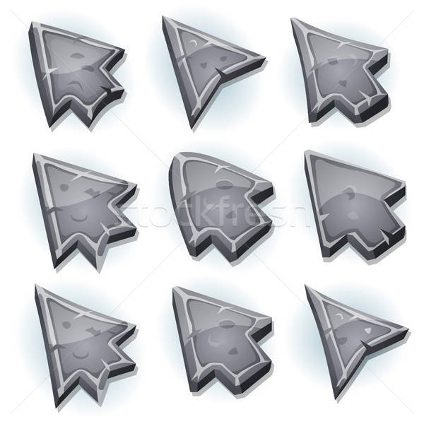 Stone Icons, Cursor And Arrows Stock photo © benchart