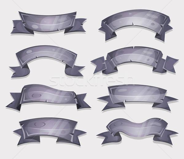 Rajz kő bannerek szalagok ui játék Stock fotó © benchart