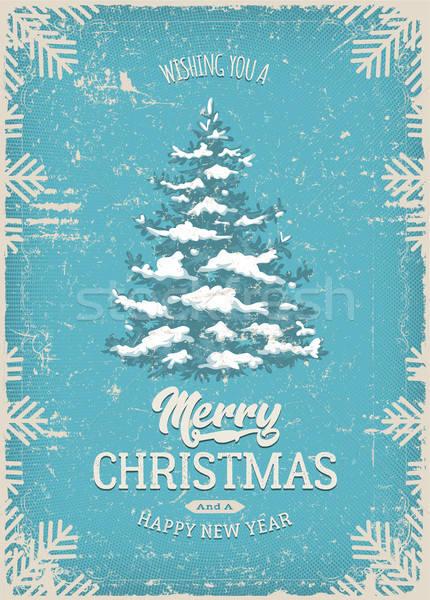 Navidad tarjeta de felicitación textura grunge ilustración vintage postal Foto stock © benchart