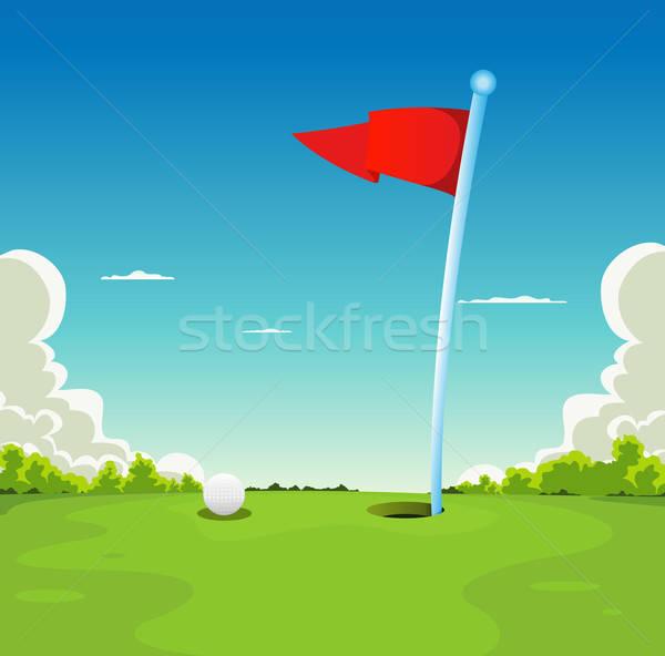 зеленый мяч для гольфа флаг иллюстрация гольф спорт Сток-фото © benchart
