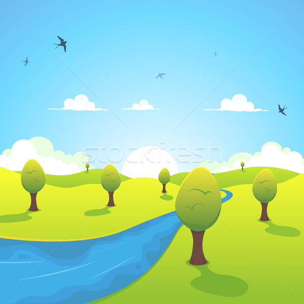 Spring Or Summer River And Flying Swallows  Stock photo © benchart