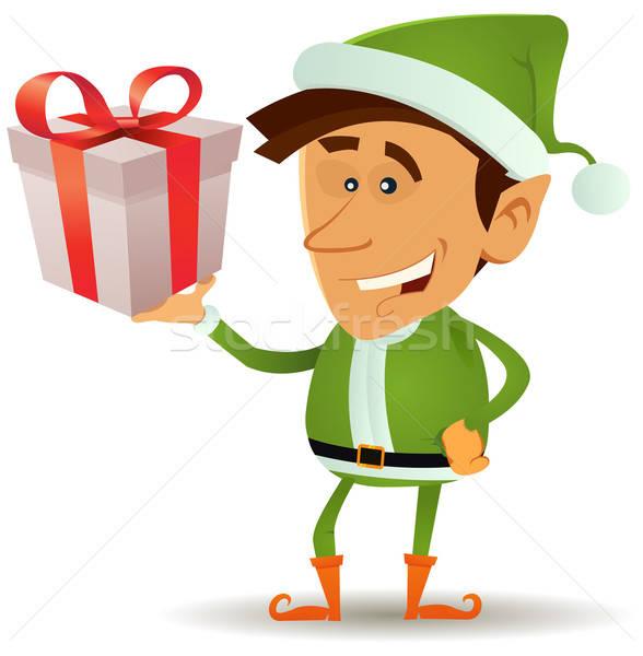 Natale elf regalo illustrazione divertente Foto d'archivio © benchart