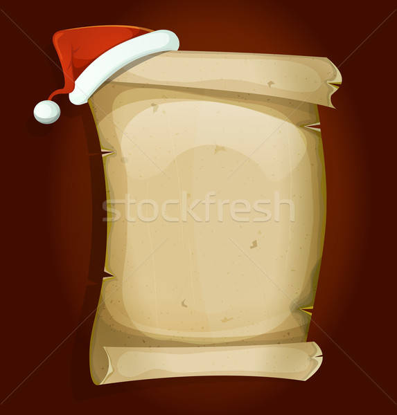 Santa Claus Hat On Old Parchment Scroll Stock photo © benchart