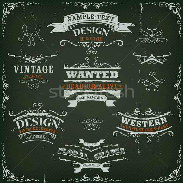 Hand Drawn Western Banners And Ribbons Stock photo © benchart