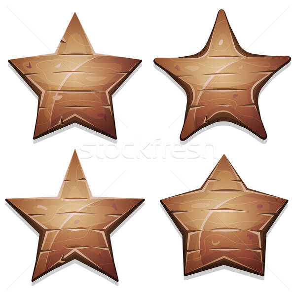 Wood Stars Icons For Ui Game Stock photo © benchart
