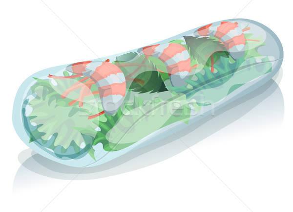 ázsiai tavaszi tekercs illusztráció étvágygerjesztő rajz ikon Stock fotó © benchart