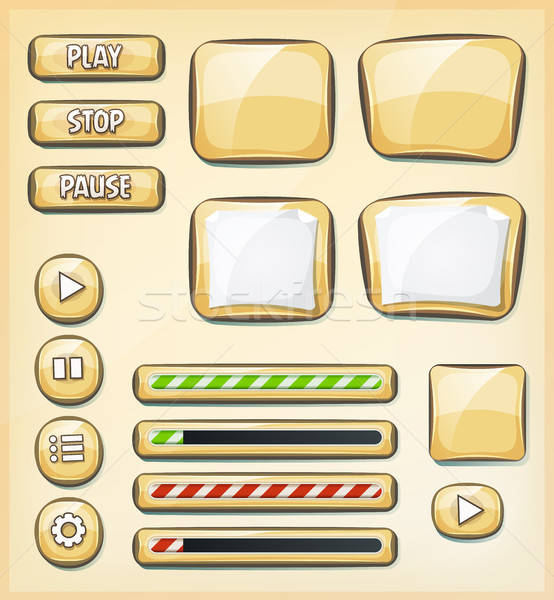 Cartoon Buttons, Icons And Elements For Game Ui Stock photo © benchart