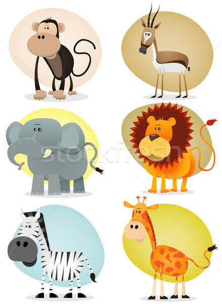 Africaine jungle animaux ensemble illustration Photo stock © benchart