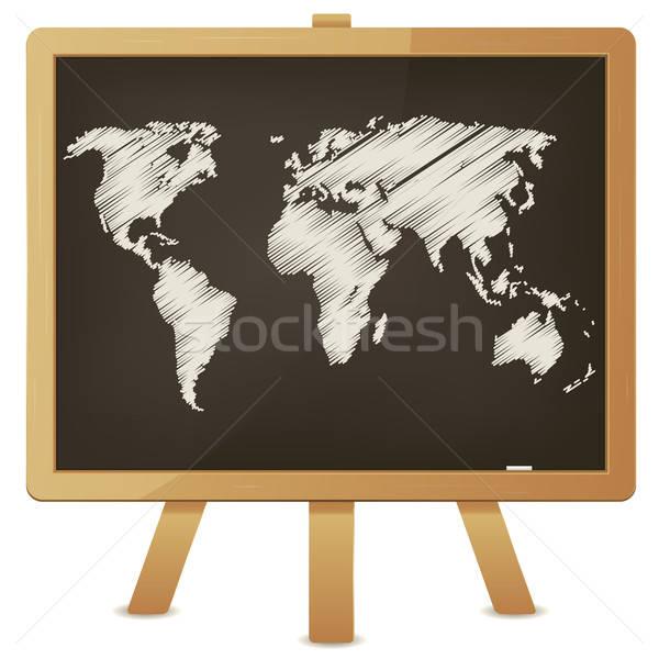 World Map On Classroom Blackboard Stock photo © benchart