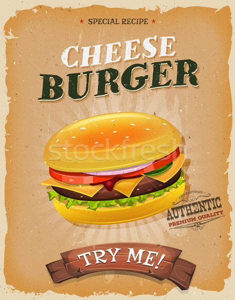Grunge vintage cheeseburger affiche illustration design Photo stock © benchart