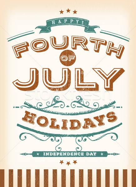Klasszikus negyedik ünnepek illusztráció retro poszter Stock fotó © benchart