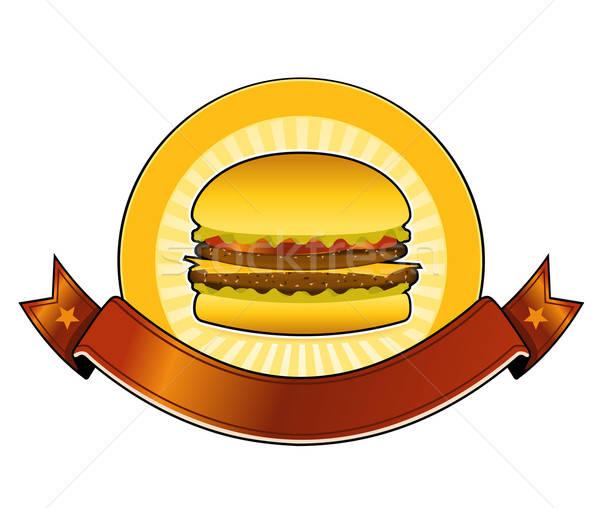 Burger restauracji banner ilustracja usta Zdjęcia stock © benchart