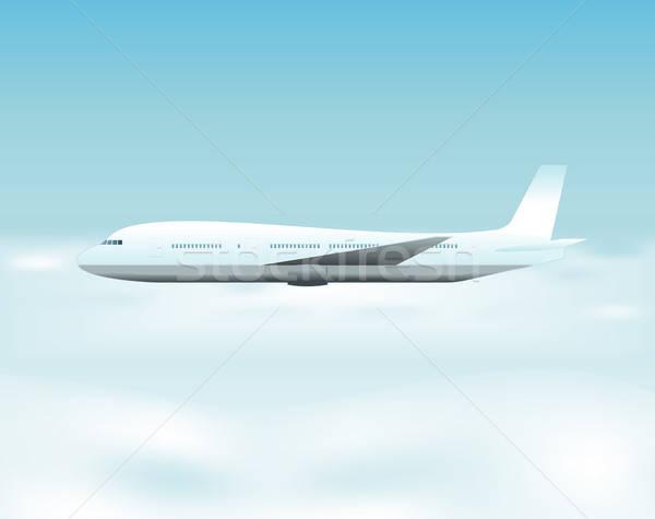 Repülőgép repülés fölött felhők illusztráció égbolt Stock fotó © benchart