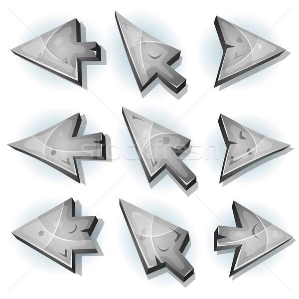Kő ikonok kurzor nyilak illusztráció szett Stock fotó © benchart