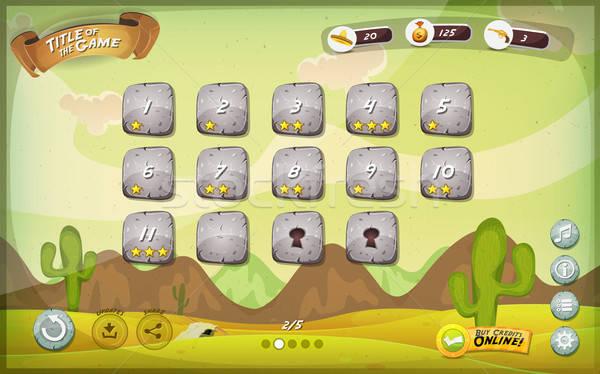Sivatag játék felhasználó interfész terv tabletta Stock fotó © benchart