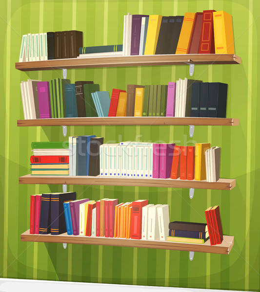 Cartoon Library Bookshelf On The Wall Stock photo © benchart