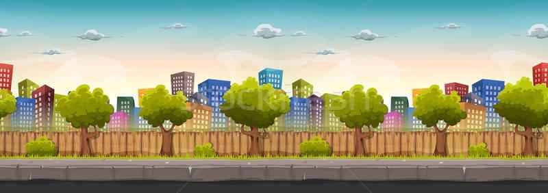 Sin costura calle ciudad paisaje juego ui Foto stock © benchart