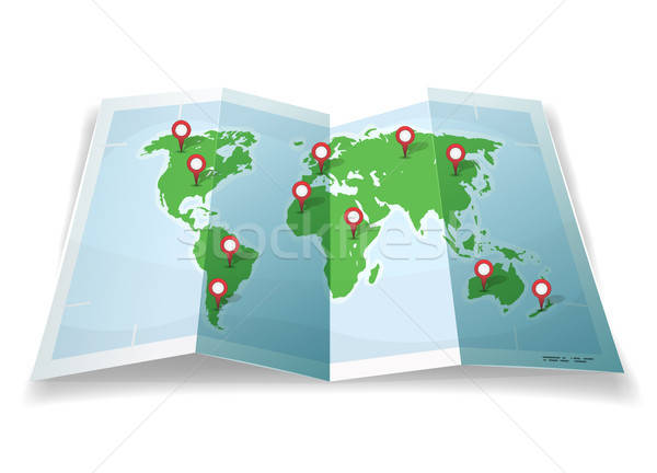 Travel World Map With GPS Pins Stock photo © benchart