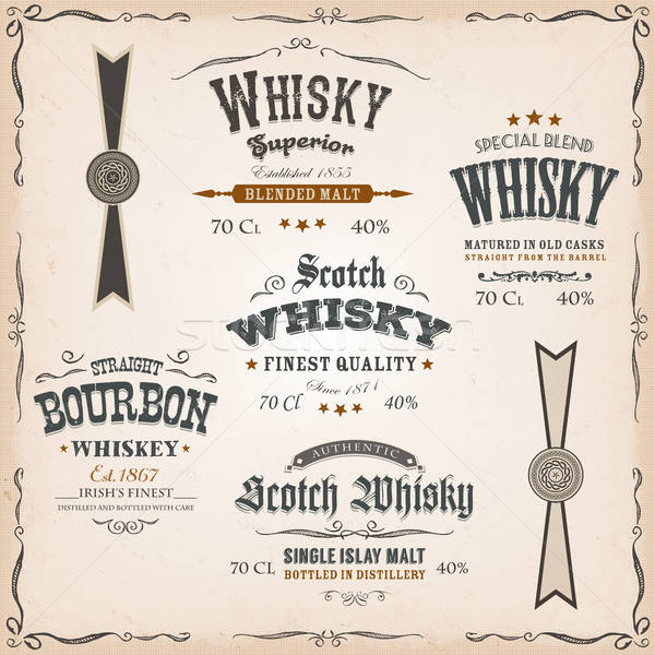 Whisky Labels And Seals On Vintage Background Stock photo © benchart