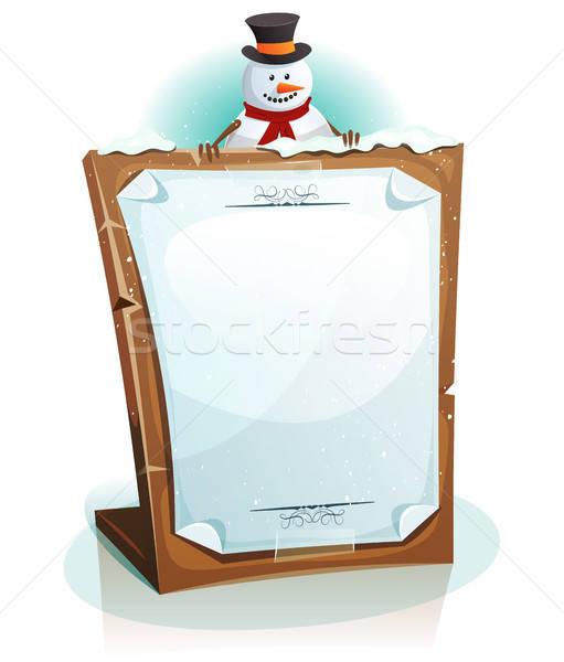 Boneco de neve natal ilustração desenho animado bonitinho Foto stock © benchart