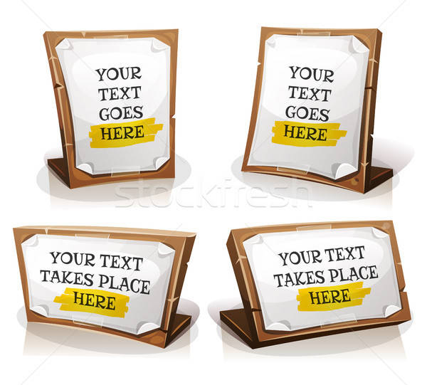 White Paper Signs On Wood Tablet Stock photo © benchart