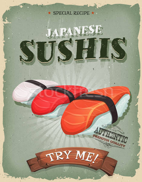 Grunge And Vintage Japanese Sushis Poster Stock photo © benchart