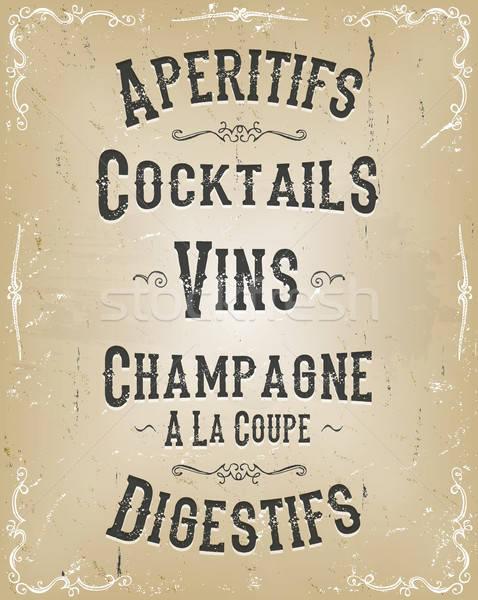 アルコール ポスター メニュー 実例 フランス語 ストックフォト © benchart