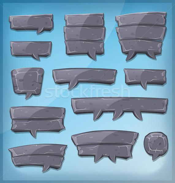 Desenho animado pedra ui jogo ilustração Foto stock © benchart