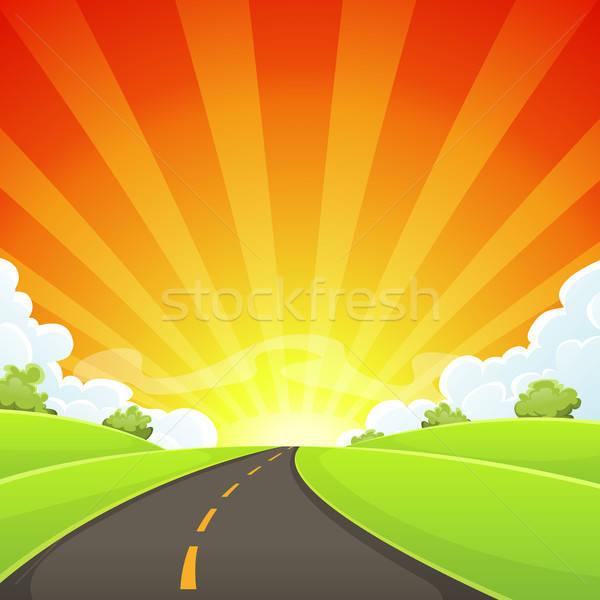 Sommer Straße Sonne Illustration Karikatur Stock foto © benchart